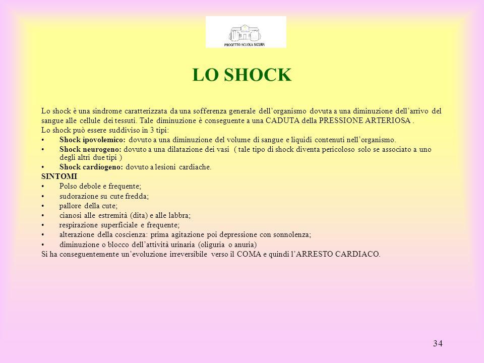 LO SHOCK Lo shock è una sindrome caratterizzata da una sofferenza generale dell'organismo dovuta a una diminuzione dell'arrivo del.