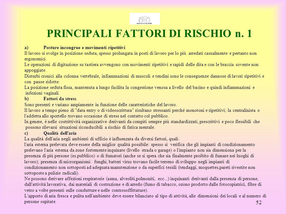 PRINCIPALI FATTORI DI RISCHIO n. 1