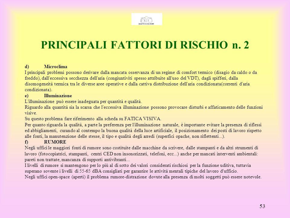 PRINCIPALI FATTORI DI RISCHIO n. 2
