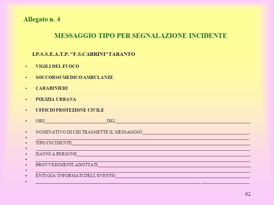 Allegato n. 4 MESSAGGIO TIPO PER SEGNALAZIONE INCIDENTE