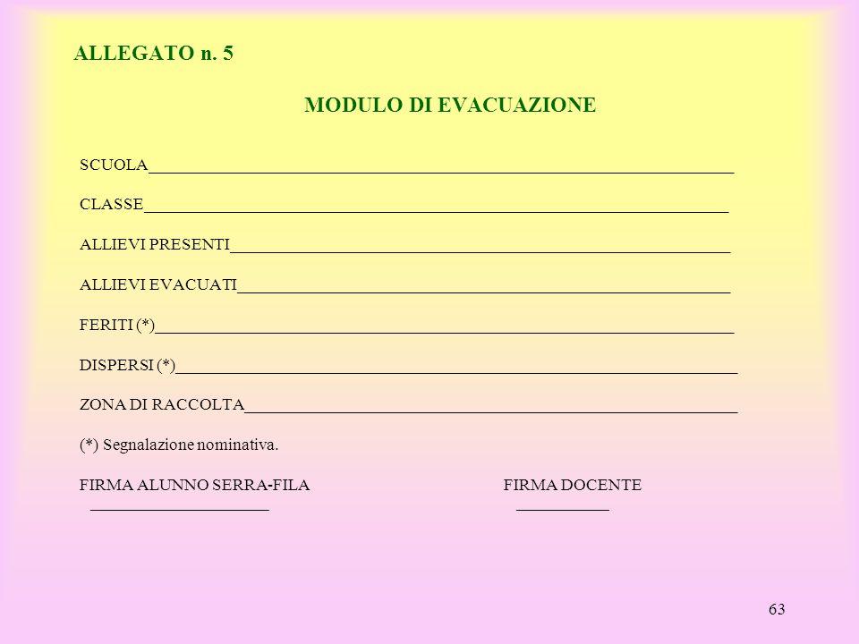 ALLEGATO n. 5 MODULO DI EVACUAZIONE