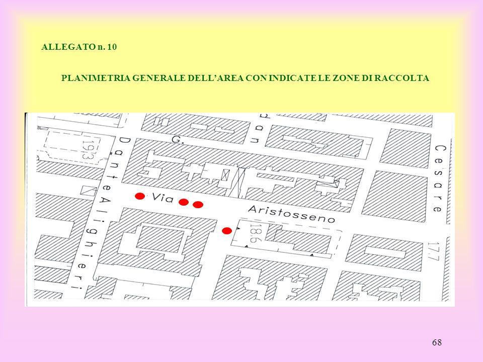 ALLEGATO n. 10 PLANIMETRIA GENERALE DELL'AREA CON INDICATE LE ZONE DI RACCOLTA