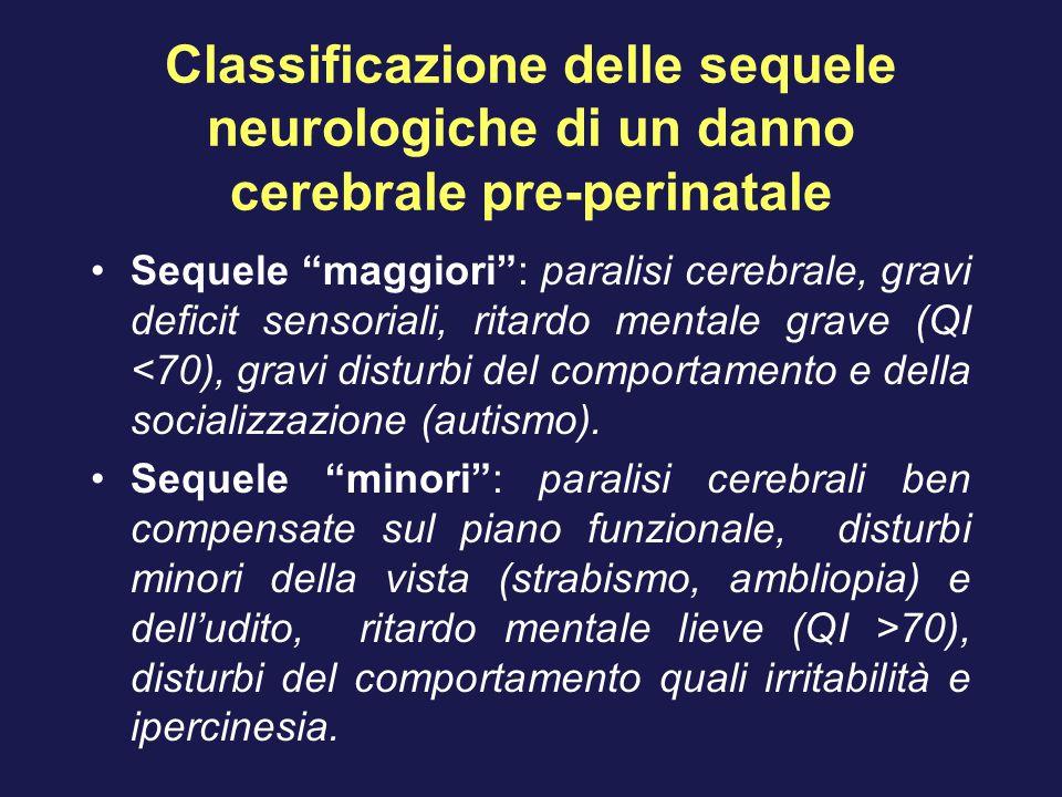 Classificazione delle sequele neurologiche di un danno cerebrale pre-perinatale