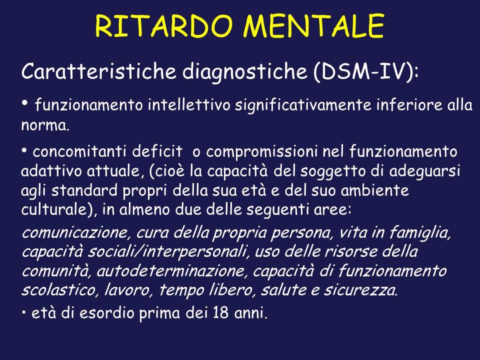 RITARDO MENTALE Caratteristiche diagnostiche (DSM-IV):
