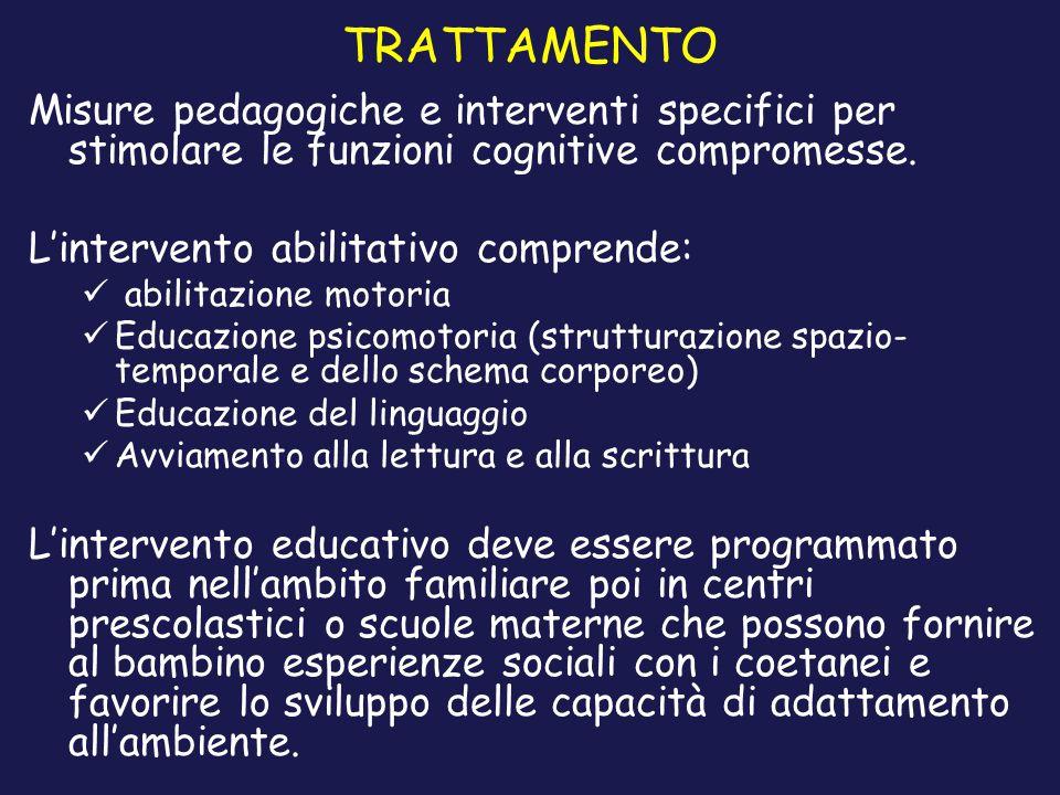TRATTAMENTO Misure pedagogiche e interventi specifici per stimolare le funzioni cognitive compromesse.