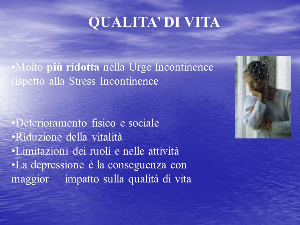 QUALITA' DI VITA Molto più ridotta nella Urge Incontinence rispetto alla Stress Incontinence. Deterioramento fisico e sociale.