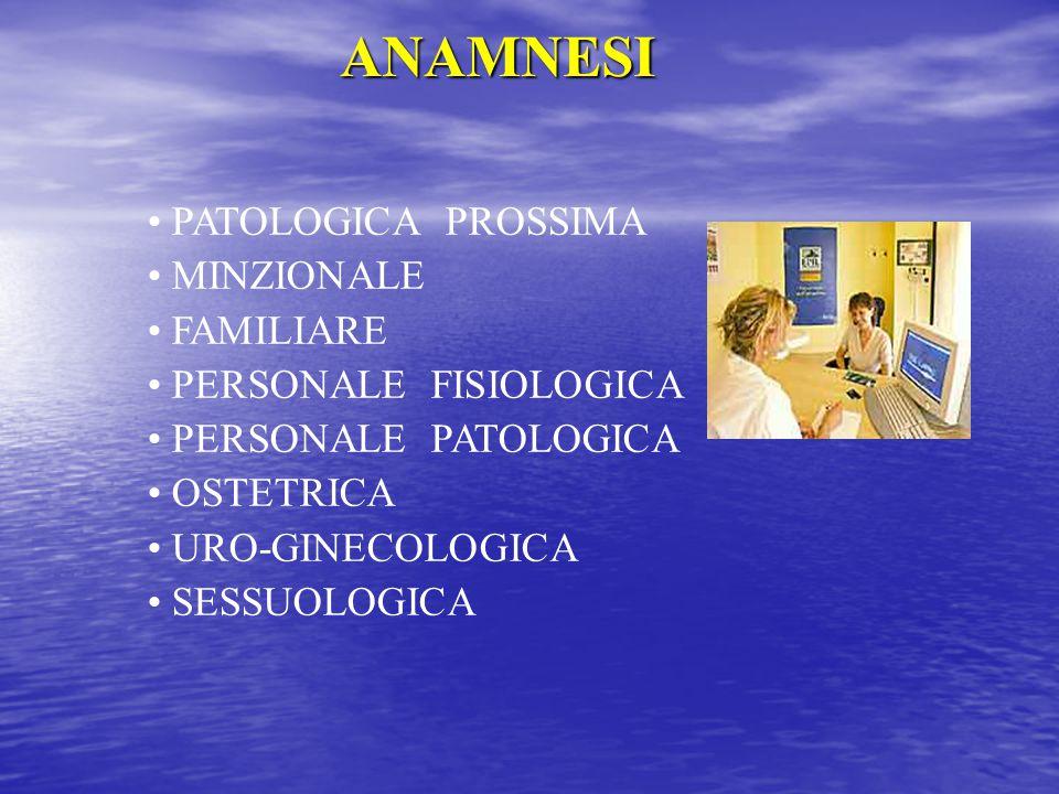 ANAMNESI PATOLOGICA PROSSIMA MINZIONALE FAMILIARE