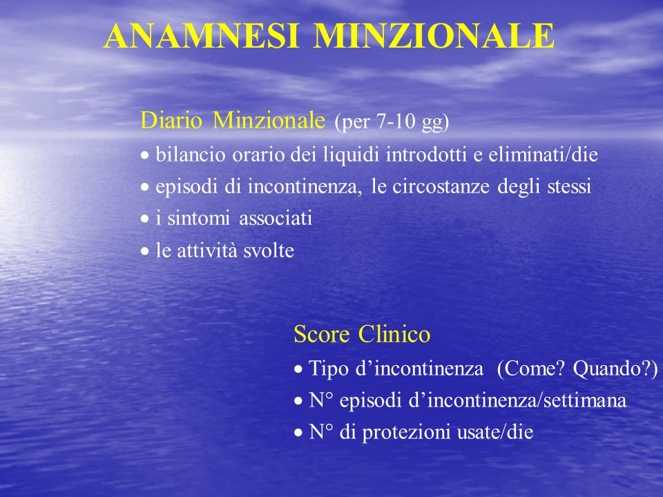 ANAMNESI MINZIONALE Diario Minzionale (per 7-10 gg) Score Clinico