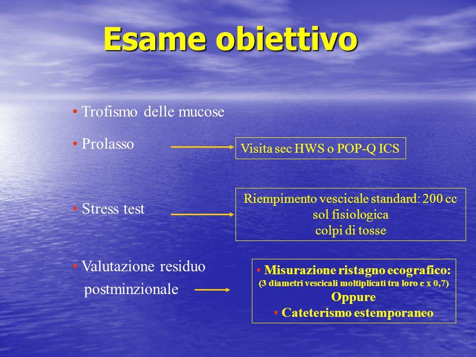 Esame obiettivo Trofismo delle mucose Prolasso Stress test