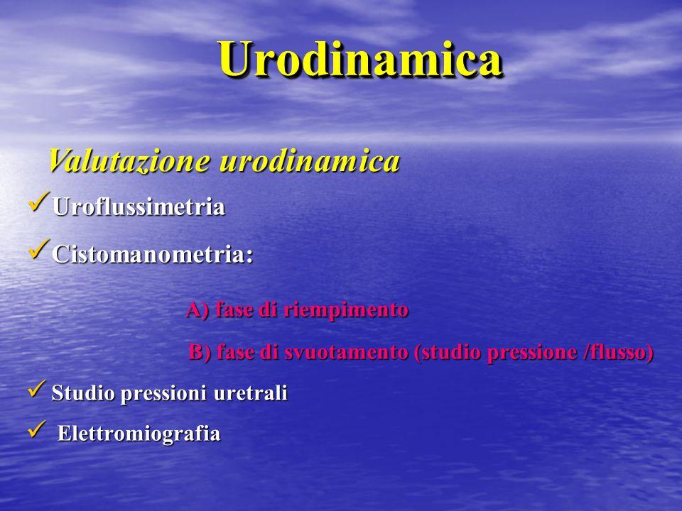 Urodinamica Valutazione urodinamica A) fase di riempimento