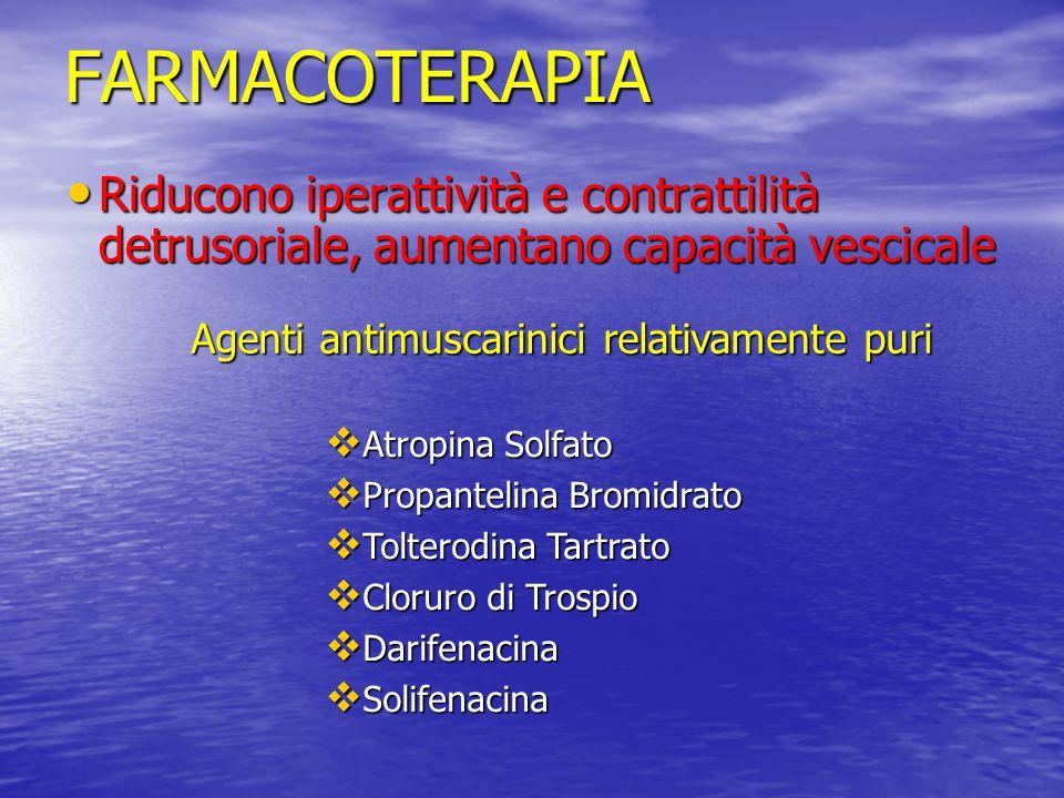FARMACOTERAPIA Riducono iperattività e contrattilità detrusoriale, aumentano capacità vescicale. Agenti antimuscarinici relativamente puri.