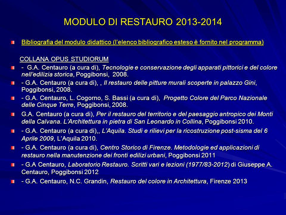 MODULO DI RESTAURO 2013-2014 Bibliografia del modulo didattico (l'elenco bibliografico esteso è fornito nel programma)