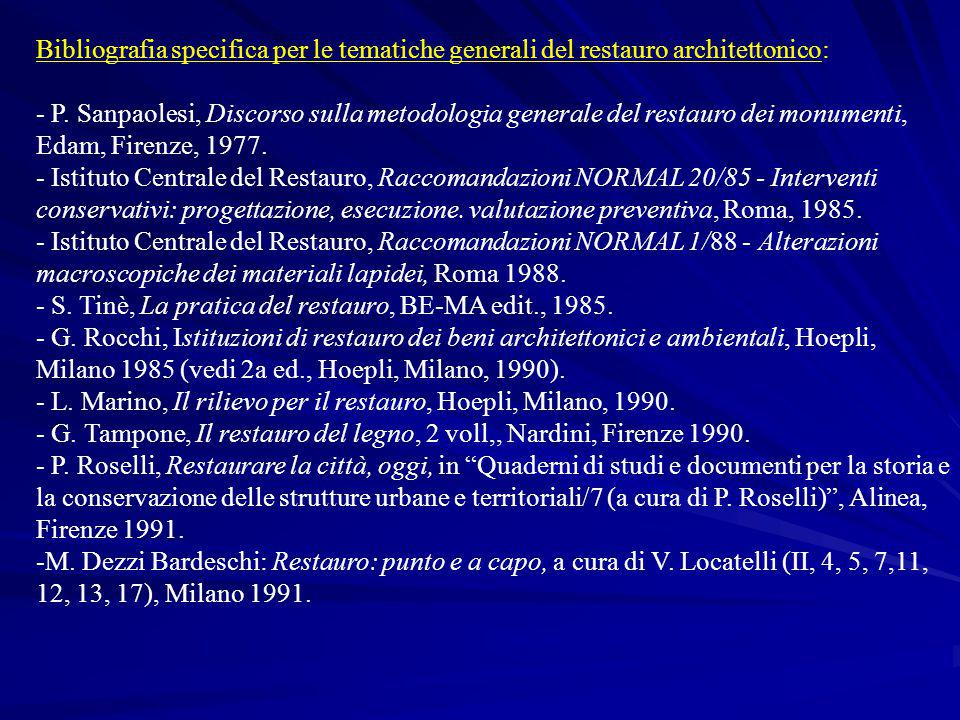 Bibliografia specifica per le tematiche generali del restauro architettonico: