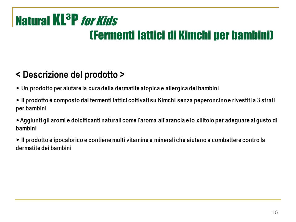 Natural KL³P for Kids (Fermenti lattici di Kimchi per bambini)