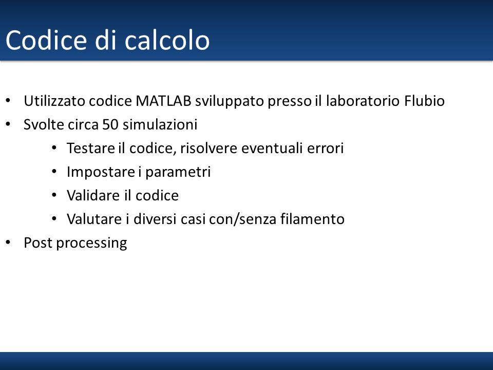 Codice di calcolo Utilizzato codice MATLAB sviluppato presso il laboratorio Flubio. Svolte circa 50 simulazioni.