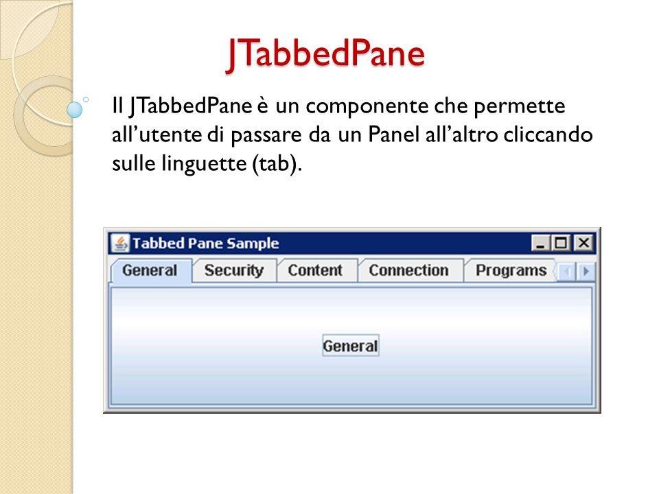 JTabbedPane Il JTabbedPane è un componente che permette all'utente di passare da un Panel all'altro cliccando sulle linguette (tab).