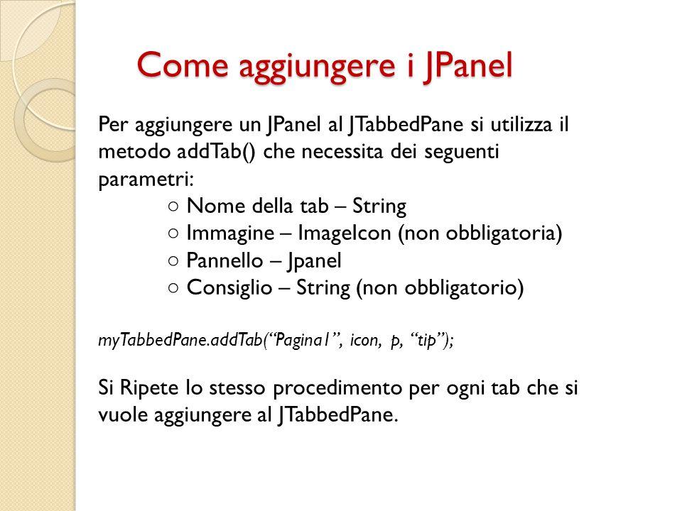 Come aggiungere i JPanel