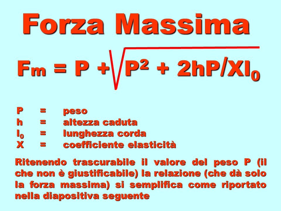 Forza Massima Fm = P + P2 + 2hP/Xl0 P = peso h = altezza caduta l0 = lunghezza corda X = coefficiente elasticità.