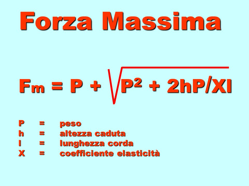 Forza Massima Fm = P + P2 + 2hP/Xl P = peso h = altezza caduta l = lunghezza corda X = coefficiente elasticità.