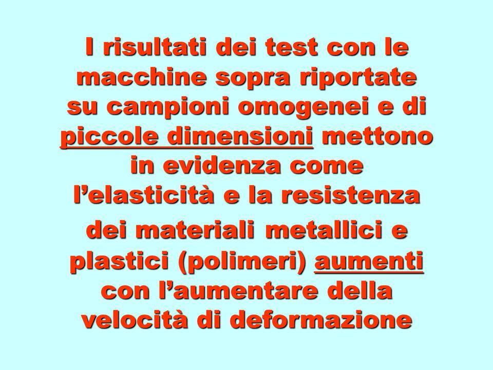 I risultati dei test con le macchine sopra riportate su campioni omogenei e di piccole dimensioni mettono in evidenza come l'elasticità e la resistenza dei materiali metallici e plastici (polimeri) aumenti con l'aumentare della velocità di deformazione