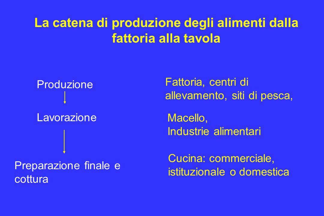 La catena di produzione degli alimenti dalla fattoria alla tavola