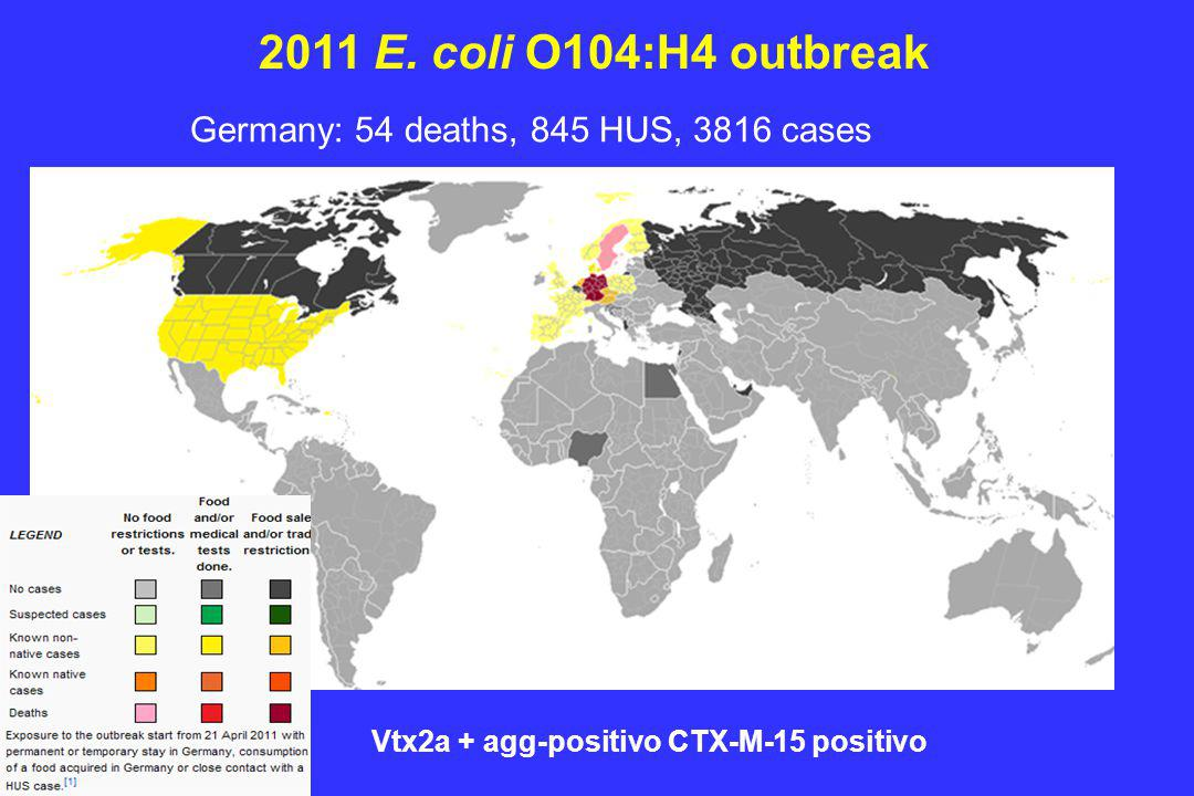 2011 E. coli O104:H4 outbreak Germany: 54 deaths, 845 HUS, 3816 cases
