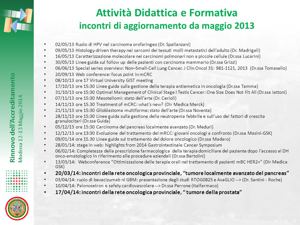 Attività Didattica e Formativa incontri di aggiornamento da maggio 2013