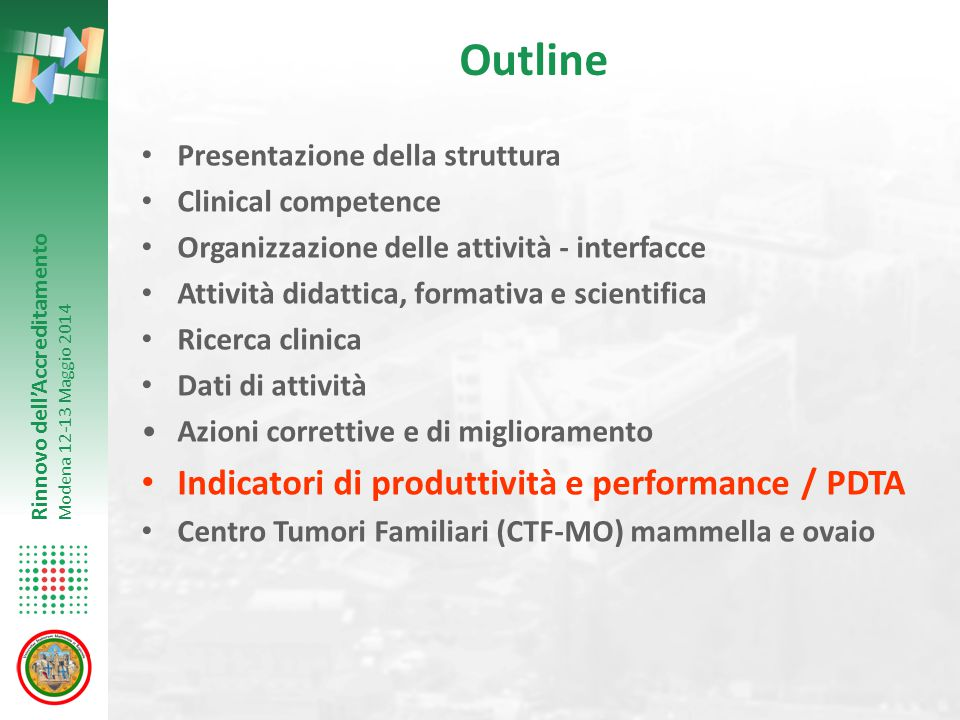Outline Indicatori di produttività e performance / PDTA