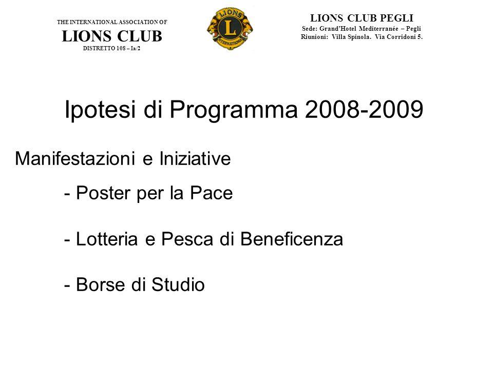 Ipotesi di Programma 2008-2009 Manifestazioni e Iniziative