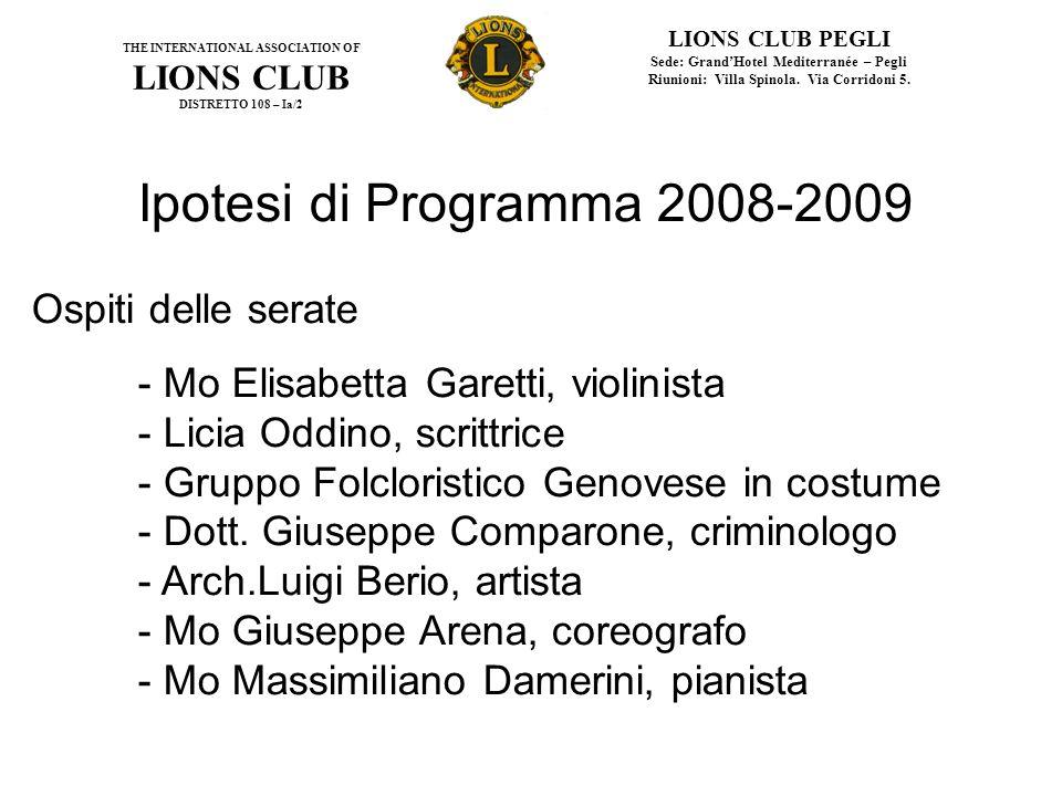Ipotesi di Programma 2008-2009 Ospiti delle serate