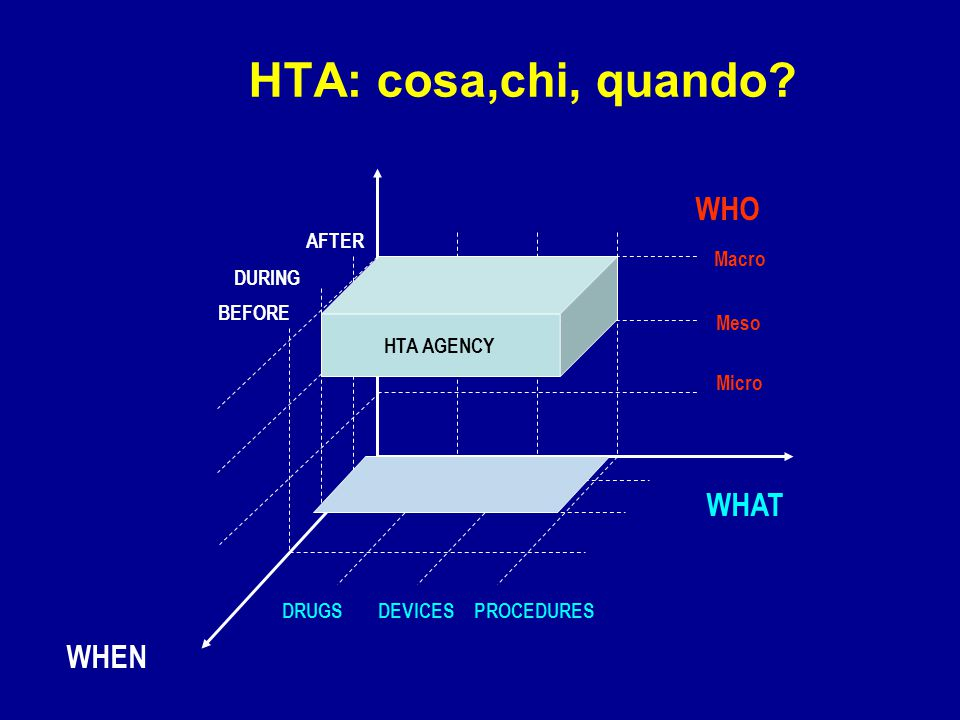 HTA: cosa,chi, quando WHO WHAT WHEN AFTER Macro DURING HTA AGENCY