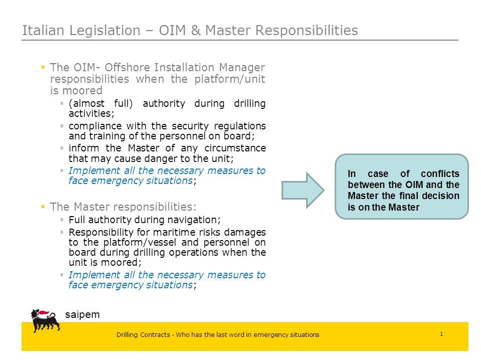 Italian Legislation – OIM & Master Responsibilities