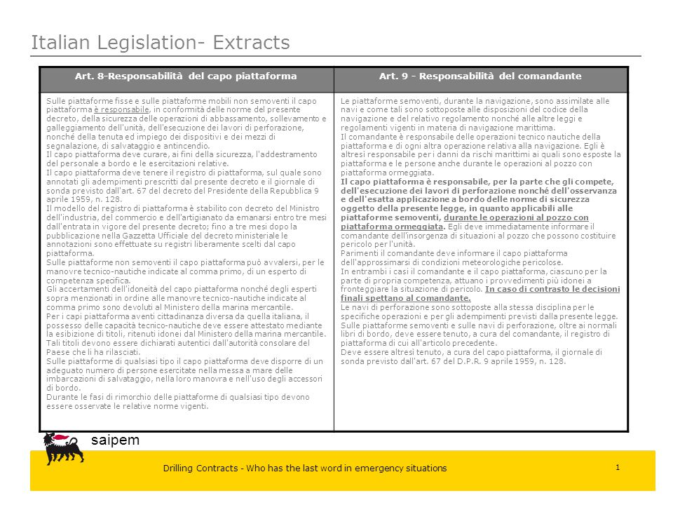 Italian Legislation- Extracts