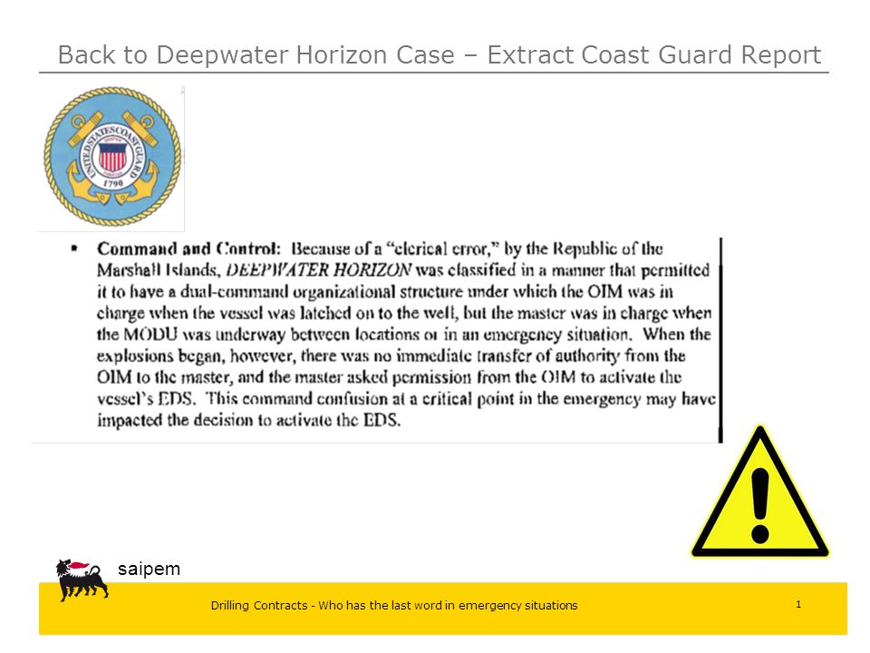 Back to Deepwater Horizon Case – Extract Coast Guard Report