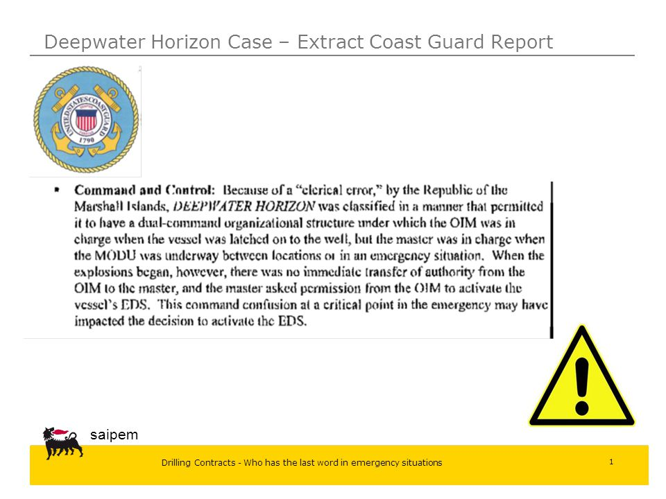 Deepwater Horizon Case – Extract Coast Guard Report