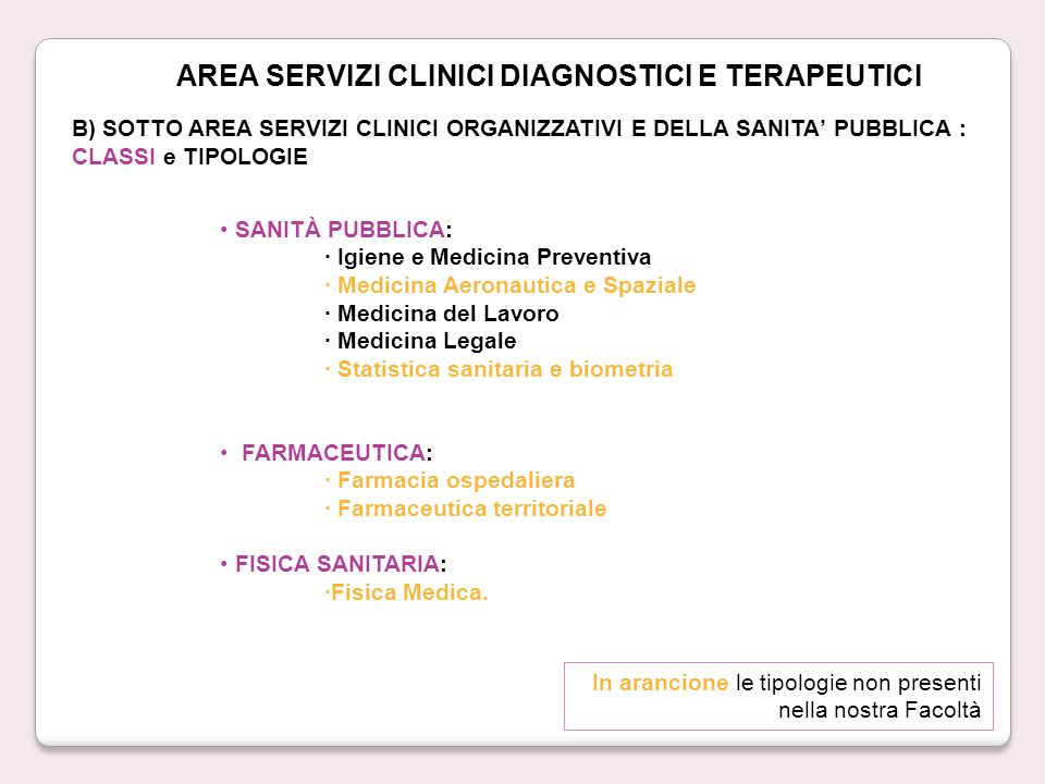 AREA SERVIZI CLINICI DIAGNOSTICI E TERAPEUTICI