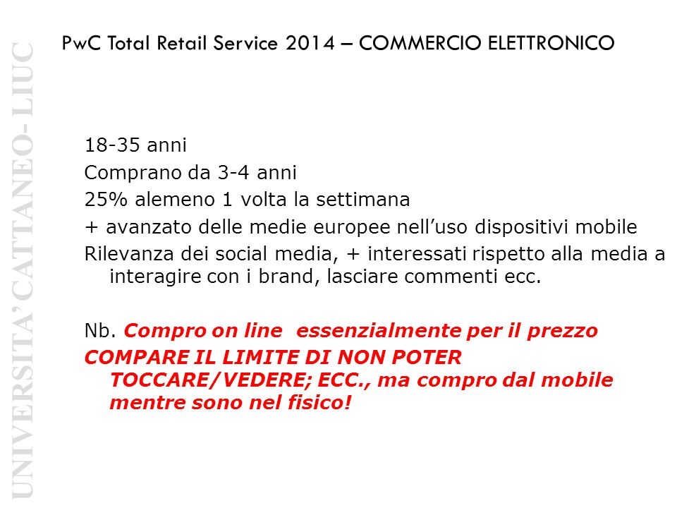 PwC Total Retail Service 2014 – COMMERCIO ELETTRONICO
