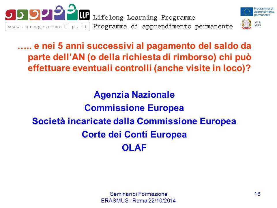Società incaricate dalla Commissione Europea Corte dei Conti Europea