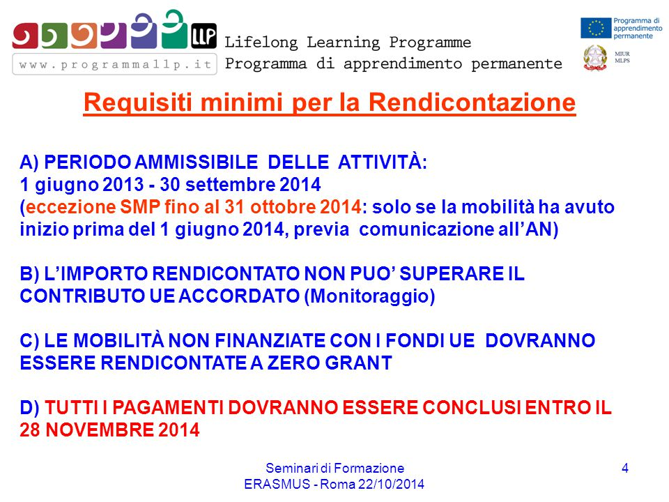 Requisiti minimi per la Rendicontazione