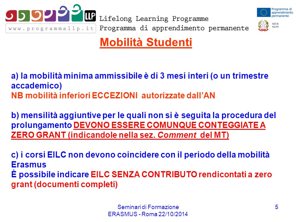 Seminari di Formazione ERASMUS - Roma 22/10/2014