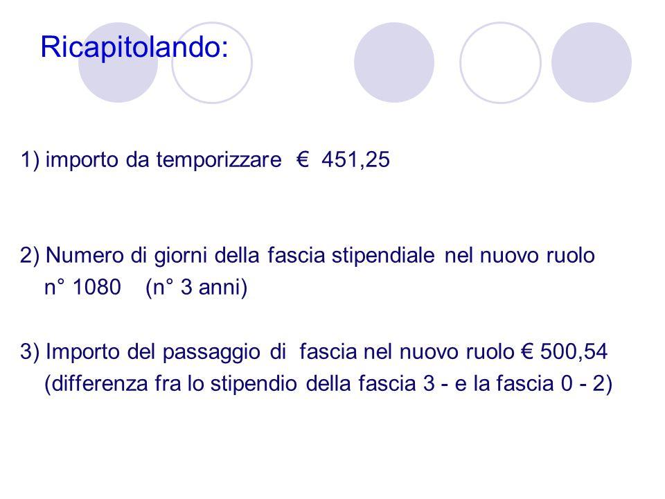 Ricapitolando: 1) importo da temporizzare € 451,25