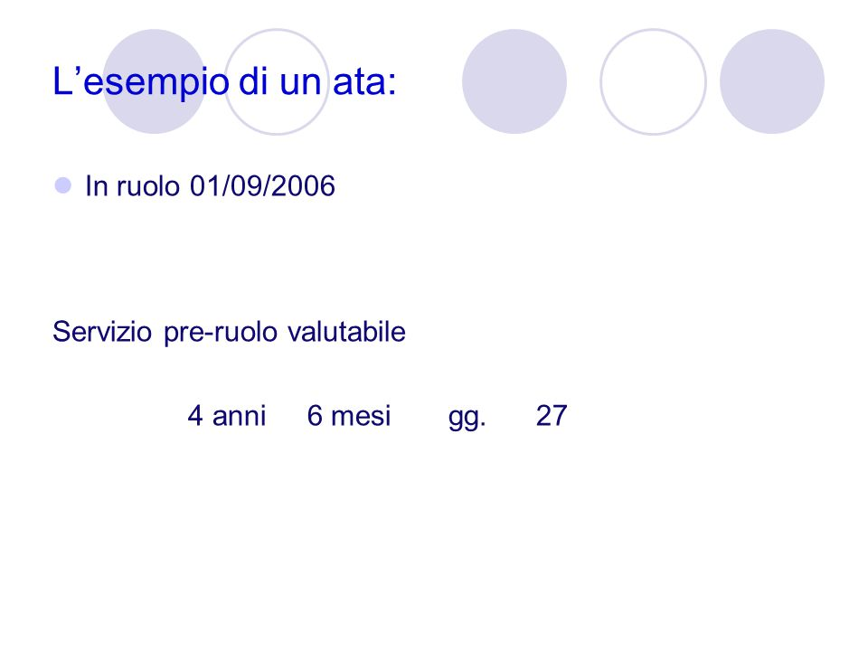 L'esempio di un ata: In ruolo 01/09/2006 Servizio pre-ruolo valutabile