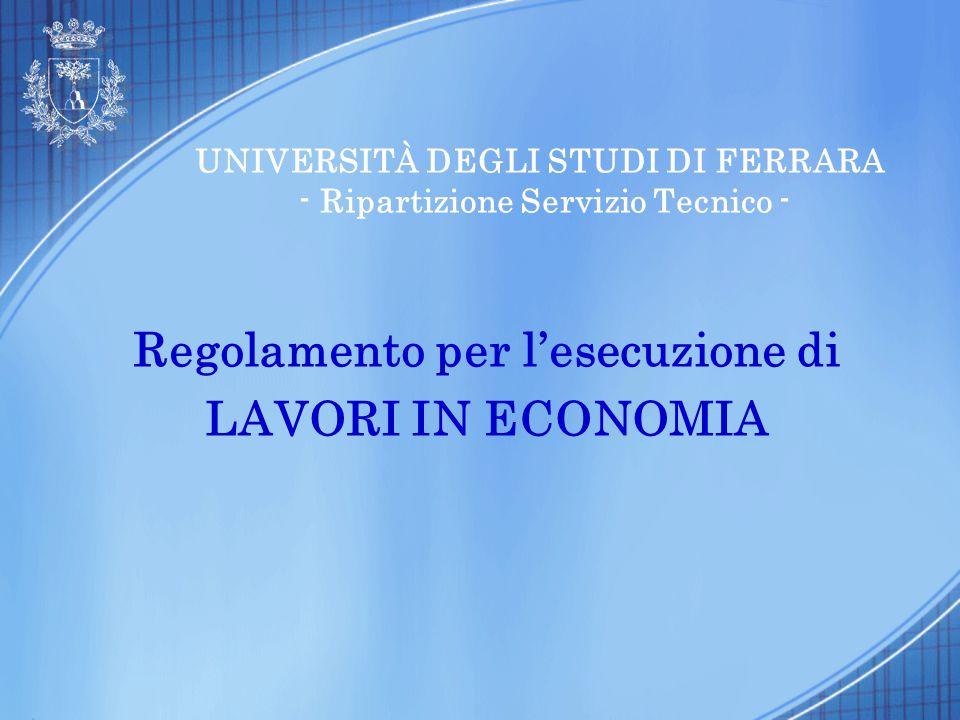 UNIVERSITÀ DEGLI STUDI DI FERRARA - Ripartizione Servizio Tecnico -