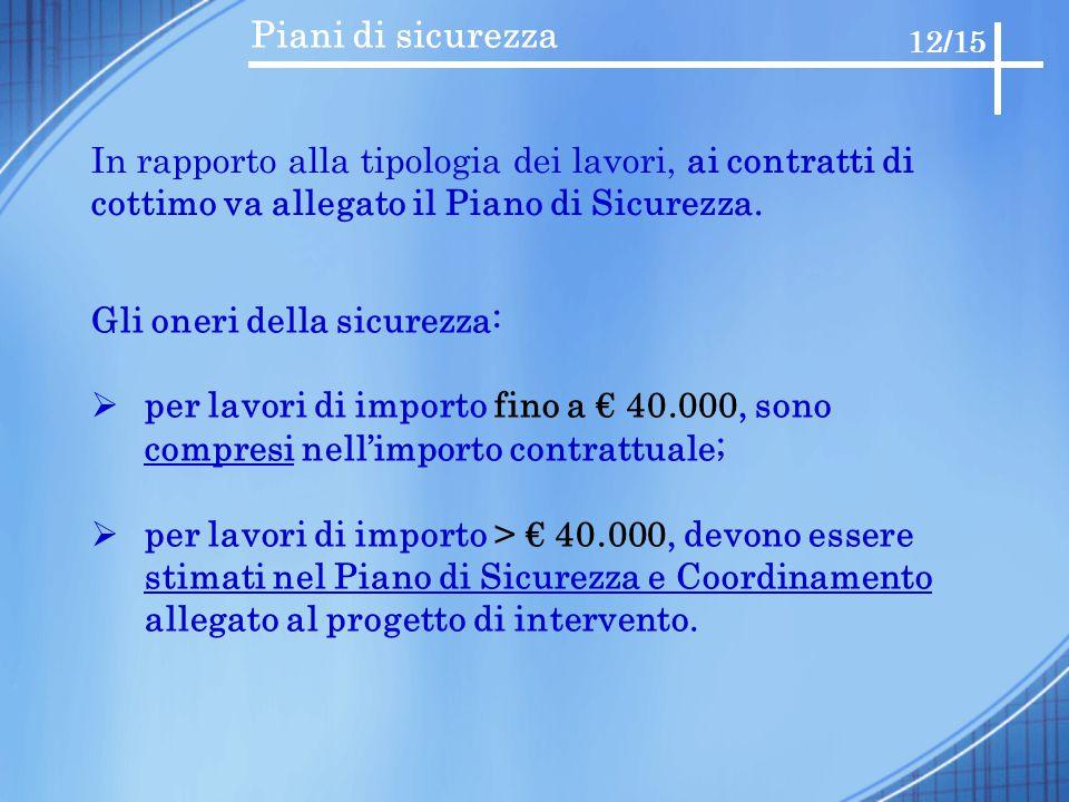 Piani di sicurezza 12/15. In rapporto alla tipologia dei lavori, ai contratti di. cottimo va allegato il Piano di Sicurezza.