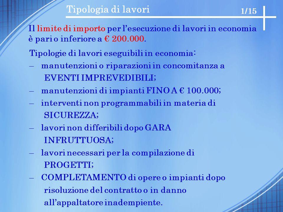 Tipologia di lavori 1/15. Il limite di importo per l'esecuzione di lavori in economia è pari o inferiore a € 200.000.