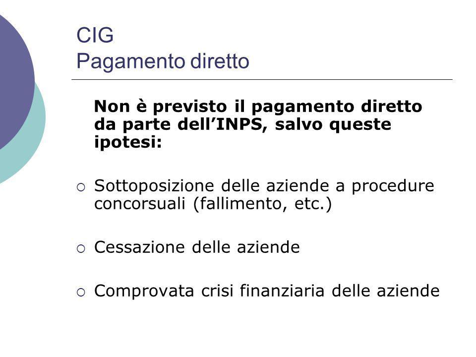 CIG Pagamento diretto Non è previsto il pagamento diretto da parte dell'INPS, salvo queste ipotesi: