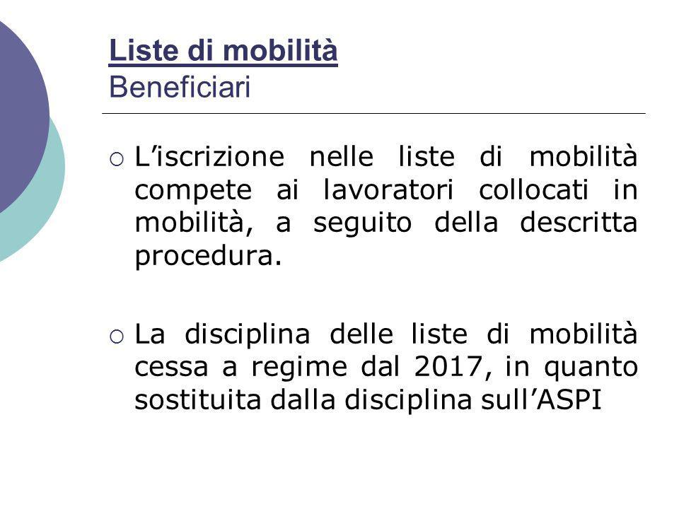 Liste di mobilità Beneficiari