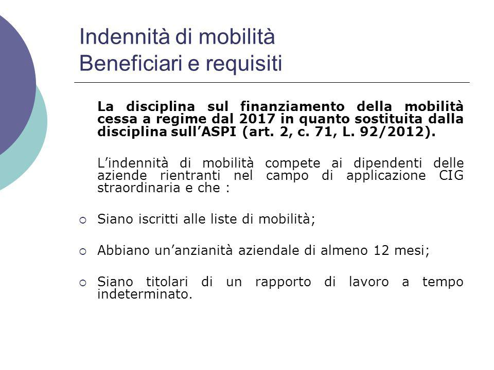 Indennità di mobilità Beneficiari e requisiti