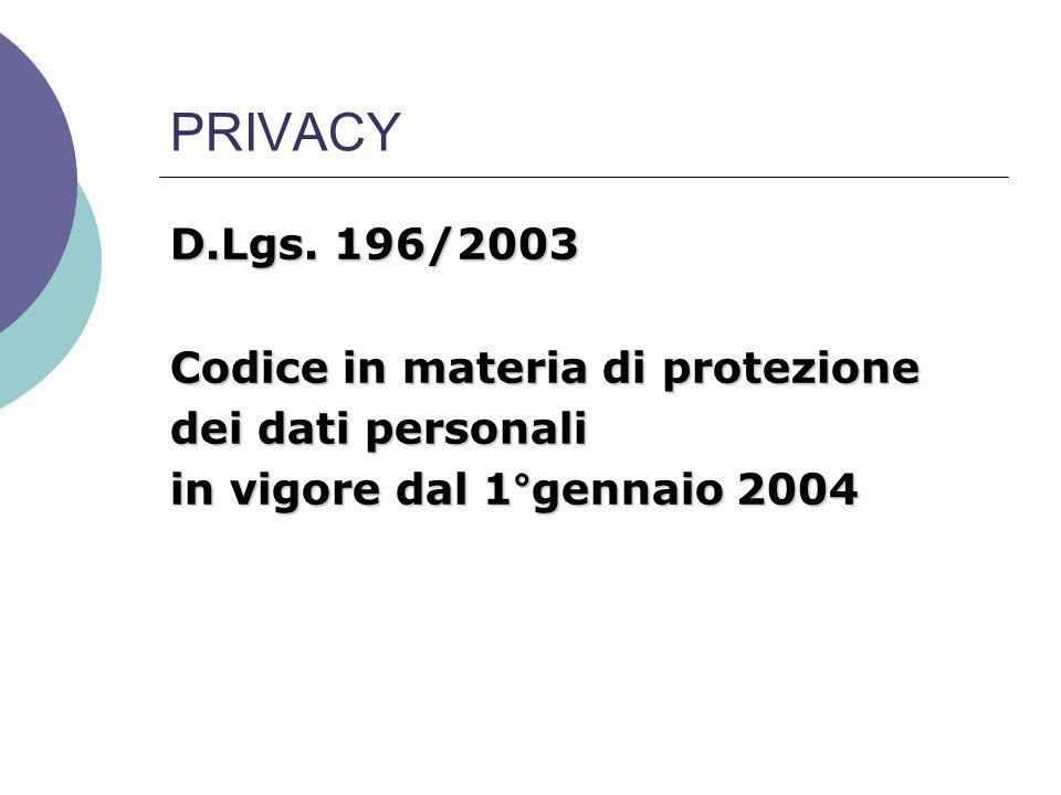 PRIVACY D.Lgs. 196/2003 Codice in materia di protezione