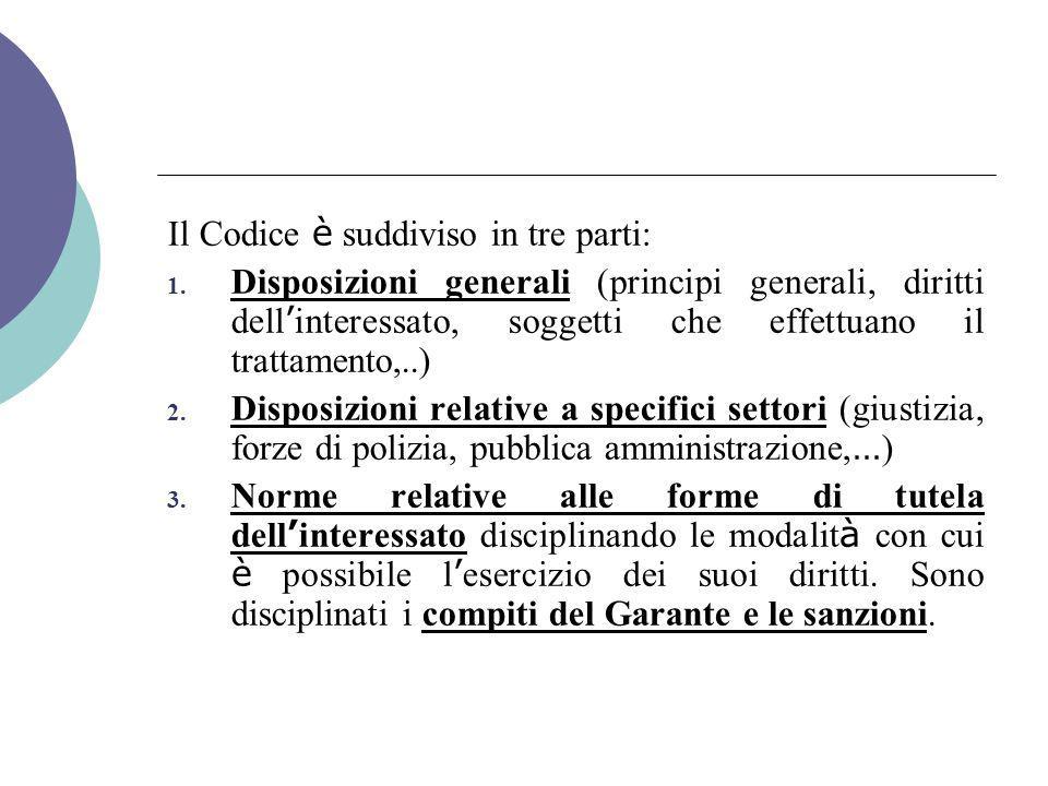 Il Codice è suddiviso in tre parti: